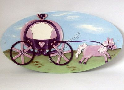 Door /Wall Plaque. Princess Horse and Carriage
