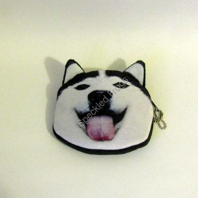 Purse, Black and white dog tongue out